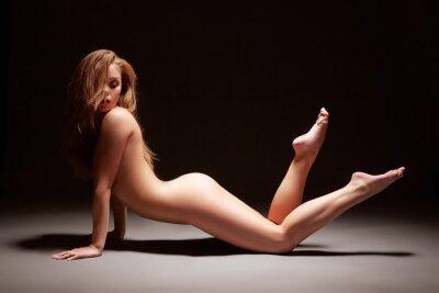Póster Foto del estudio de la muchacha esbelta posando desnuda