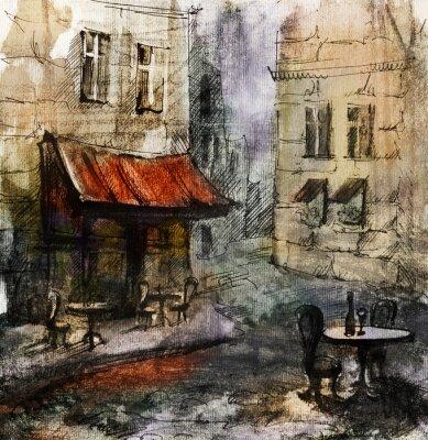 Póster Francés al aire libre pintura café europeo, dibujo gráfico de color