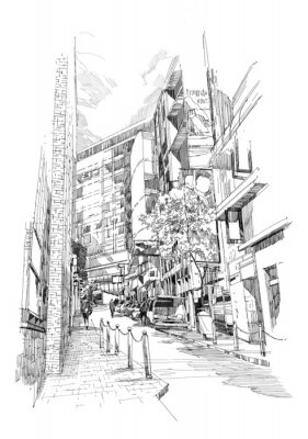 Póster free hand sketch of the old alley of the city
