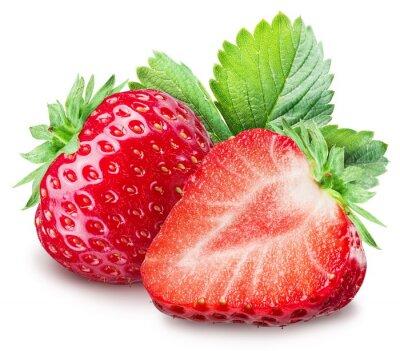 Póster Fresas en el fondo blanco.
