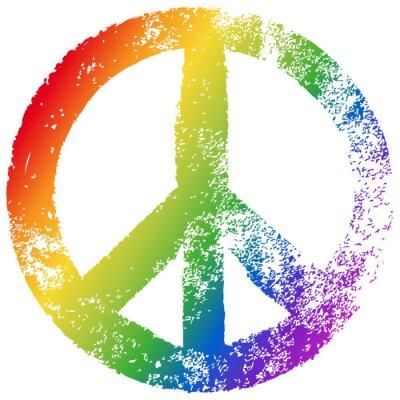 Póster Friedenszeichen, Regenbogenfarben, vector, Grunge, freigestellt