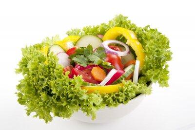 Póster frischer gesunder Salat mit Gemüse gemischtem