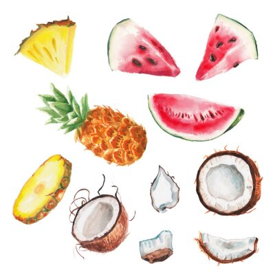 Póster frutas acuarela verano fijaron