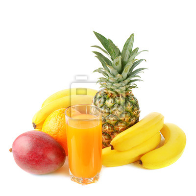 frutas tropicales frescas y jugo
