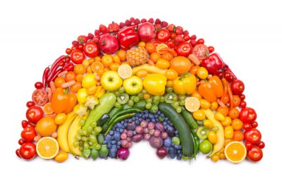 Póster frutas y verduras arco iris