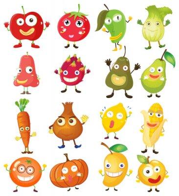 Póster Frutas y verduras con la cara