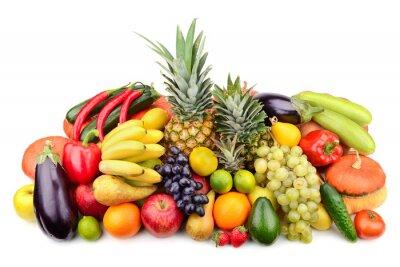 Póster frutas y verduras frescas aisladas en blanco