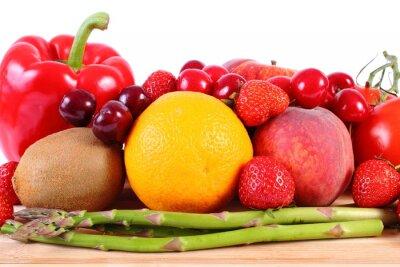 Póster Frutas y verduras frescas, nutrición saludable