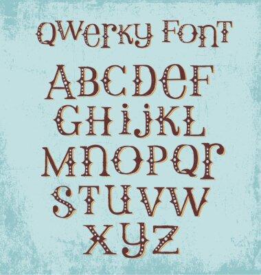 Póster Fuente peculiar dibujada a mano de la vendimia con las letras mezcladas de las letras mayúsculas y minúsculas