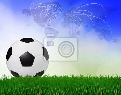 fútbol de fútbol en campo verde con el fondo del cielo azul