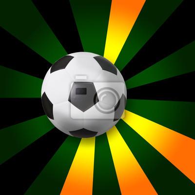 fútbol fútbol sobre fondo de rayos de color verde oscuro