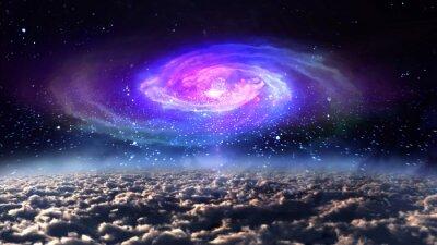 Póster Galaxia azul en la noche en el espacio.