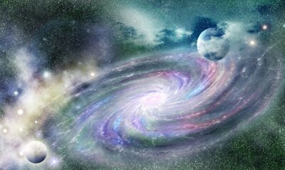 Póster galaxia espiral en el universo
