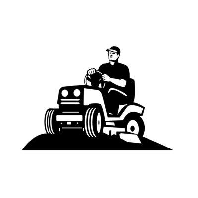 Gardener Landscaper Groundsman Groundskeeper Riding Ride-on Lawn Mower Retro Black and White