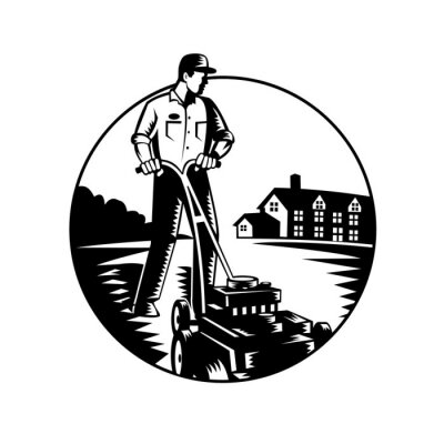 Gardener Mowing With Lawnmower and House Circle Woodcut Black and White