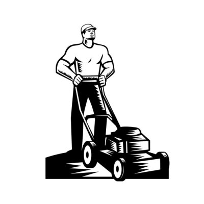 Gardener or Groundskeeper With Lawn Mower Mowing Woodcut Retro
