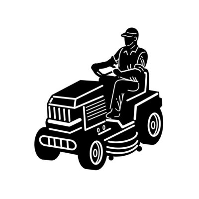 Gardener Riding Ride On Mower Mowing Lawn Retro Black and White