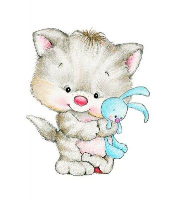 Póster Gatito lindo con el conejito del bebé