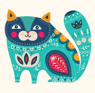 Póster Gato decorativo hermoso del vector en color azul