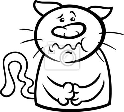 Póster: Gato enfermo para colorear de dibujos animados