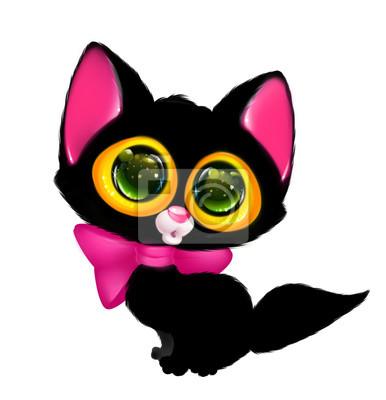 Gato Negro Ojos Grandes Ilustración De Dibujos Animados