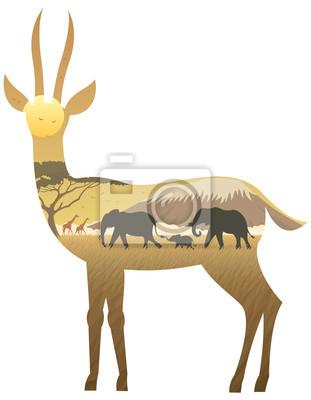 Gazelle Paisaje / paisaje africano en la silueta de la gacela. No se utiliza transparencia. Gradientes básicos (lineales) utilizados.