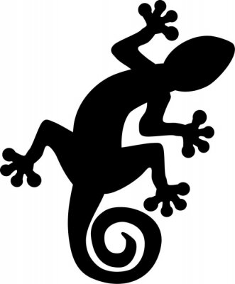 Póster Gecko lagarto silueta