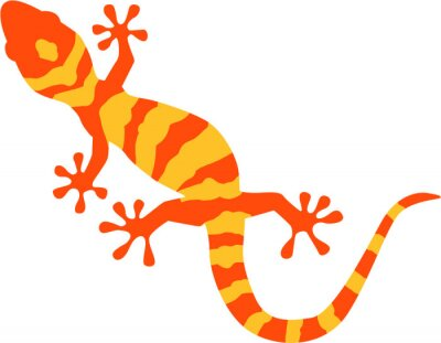 Póster Gecko with orange and yellow pattern