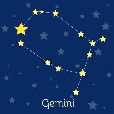 Póster Gemini Air Zodiac constelación con estrellas en el cosmos. Imagen vectorial