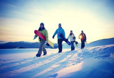 Póster Gente Snowboard Deporte de Invierno Concepto Amistad