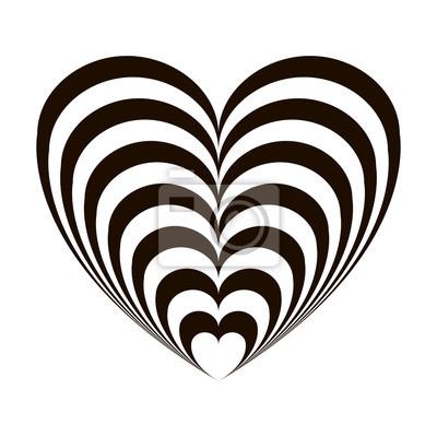 Geométrico Ilusión óptica Corazón Blanco Y Negro Sobre Un Fondo