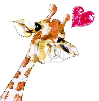 Póster Giraffe mit Herz