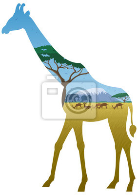 Giraffe Paisaje / paisaje africano en la silueta de la jirafa. No se utiliza transparencia. Gradientes básicos (lineales) utilizados.