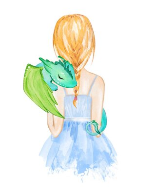 Póster Girl holding little dragon. Hand drawn watercolor illustration
