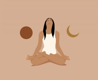 Póster Girl or woman meditate in lotus asana or position with sun and moon on both sides. Meditation or inner balance concept. Trendy minimalistic pastel terracotta colored vector illustration.