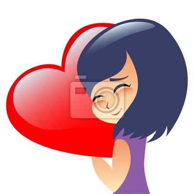 Girl teen hugs heart pillow