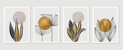 Póster Gold Botanical wall art vector set. Earth tone boho foliage line art drawing with  abstract shape.  Abstract Plant Art design for print, cover, wallpaper, Minimal and  natural wall art.