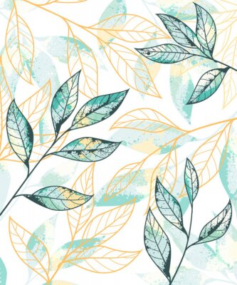 Póster Golden and green leaves pattern. Hand drawn vector background