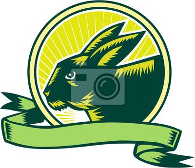 Grabado de la cinta del círculo de la cabeza del conejito