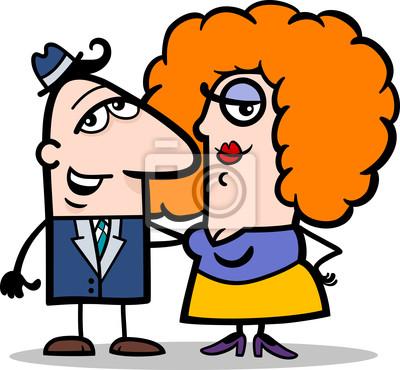 Gracioso Hombre Y Mujer Pareja De Dibujos Animados Carteles Para La
