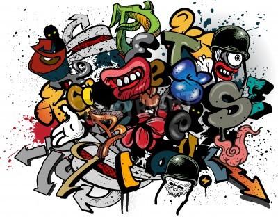 Póster Graffiti elements explosion