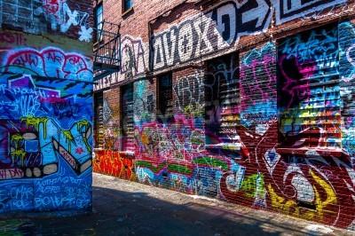 Póster Graffiti en las paredes de grafitis Alley, Baltimore, Maryland.