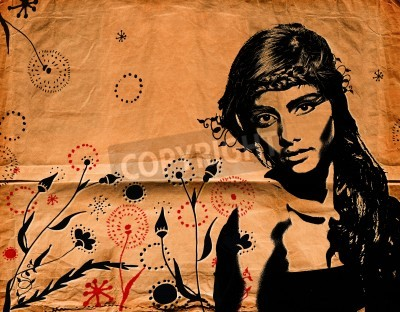 Póster graffiti fashion illustration of a beautiful woman with long hair on paper texture with grunge effect