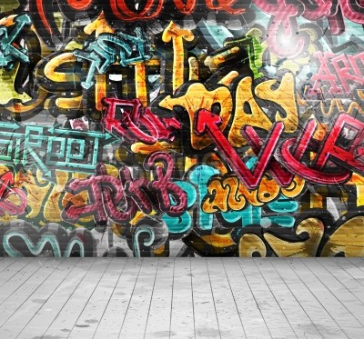 Póster Graffiti on wall, eps 10