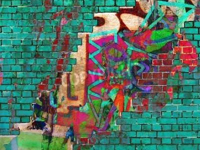 Póster Graffiti textura. Collage abstracto.