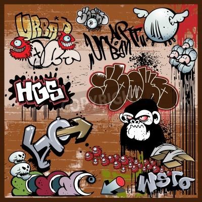 Póster graffiti urban art elements