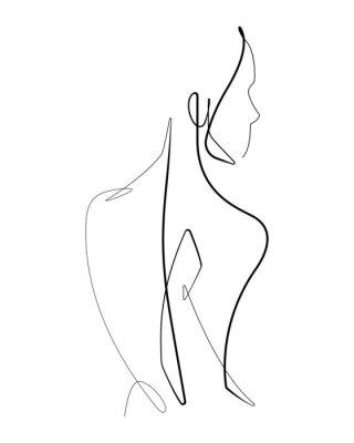 Póster Gráfico de línea vectorial continua de forma femenina