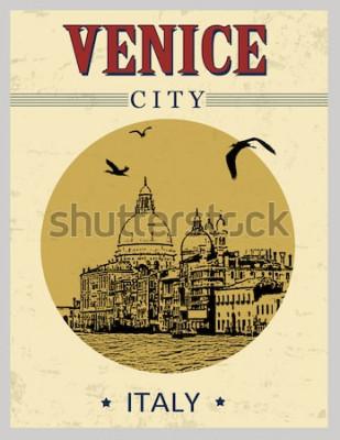 Póster Gran canal y basílica de Santa Maria della Salute, Venecia, Italia en cartel de estilo vintage, ilustración vectorial