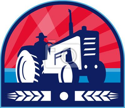 Granja orgánica del trigo del tractor del granja