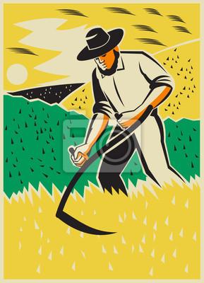 Granjero con la guadaña cosecha Campo Retro
